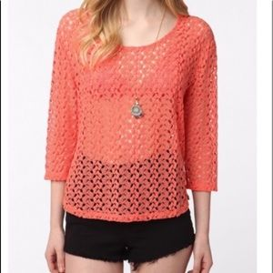 Staring at Stars Coral Open Knit Blouse size Med